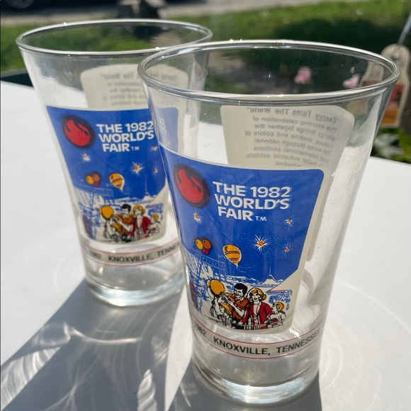 1982 worlds fair glasses Knoxville Tennessee McDs